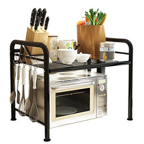 Microwave Oven Shelf, YIFAN Dish Rack Kitchen Organizer Counter Cabinet Storage Shelf - Black (Above Counter Microwave compare prices)