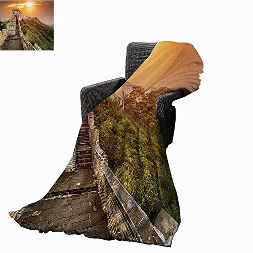 (vanfan-home Great Wall of China Faux Fur Throw Blanket,The Magnificent Heritage of World Background Brick Borders Picture Warm Cozy Super Soft Throw for Couch(90