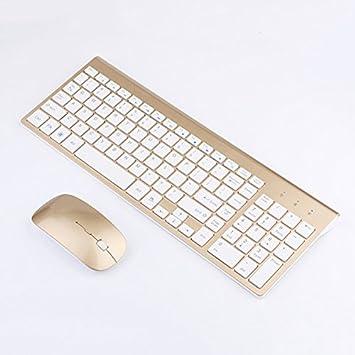 SODIAL Smooth Body - Teclado y Raton inalambricos de 2,4 GHz Combo de 102 Teclas Raton inalambrico de Teclado de bajo Ruido para PC Mac WindowsXP / ...