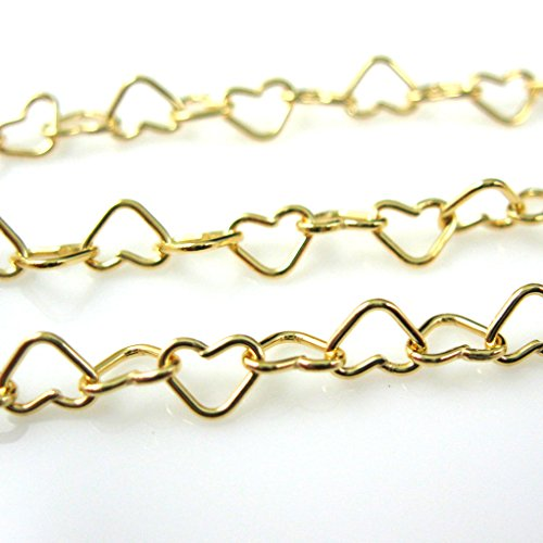 Gold Vermeil Heart Link - 22K Gold Plated Over Sterling Silver Chain - Vermeil Bulk Chain - Heart Link (sold per 1.5 feet or 18 inches)
