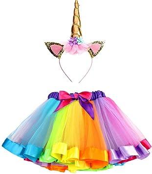 Ruiuzi Sparkling Unicorn Tutu Rainbow Falda y Diadema de Unicornio ...