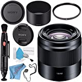 Sony E 50mm f/1.8 OSS Lens (Black) SEL50F18/B + 49mm UV Filter + Lens Pen Cleaner + Fibercloth + Lens Capkeeper + Deluxe Cleaning Kit Bundle