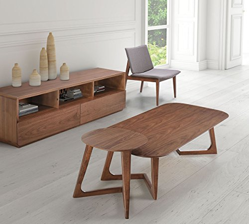 Zuo Modern 100098 Park West Side Table, Mid-Century Modern Style, Clean Lines and Walnut Tones Make for a Perfect Accent to Any Design, Made from MFD with Wood Veneer and Rubberwood
