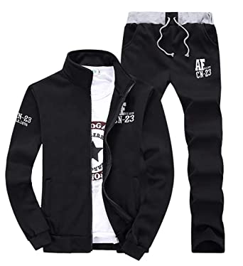 Men s Fashion Fleece lined workout Slim Fit Hoodie sudadera cremallera completa chandal conjunto Black