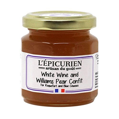 L'Epicurien, White Wine and Williams Pear Confit French Preserves | Non-GMO | Gluten-Free | All Natural, 4.4 Ounce Jar