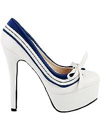 Show Story Retro White Blue Bow Navy Style Platform Stiletto Heel Pumps,LF80851
