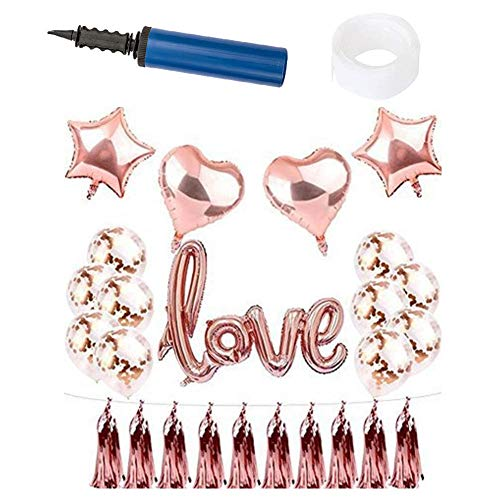 Guve 19Pcs Birthday Decorations ETS, Inflating Foil Love Banner Latex Balloons Sets,Pink ()