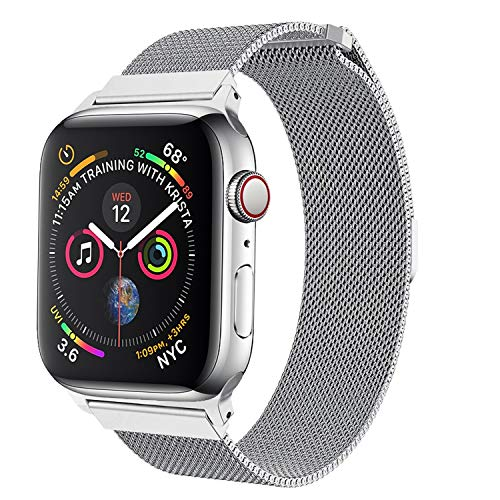 amBand Compatible with Apple Watch Band 42mm 44mm, Stainless Steel Mesh Milanese Replacement Wristband Compatible for iWatch Series 4/3/2/1 Silver