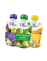 Plum Organics Stage 2, Organic Baby Food, Fruit and Veggie Variety Pack, 4 ounce pouch (Pack of 18) BOBEBE Online Baby Store From New York to Miami and Los Angeles
