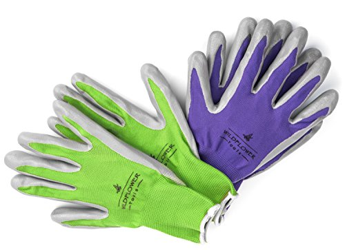 Garden Gloves for Women (2 Pairs) Small, Nitrile Coating for Protection, Soft and Breathable Nylon