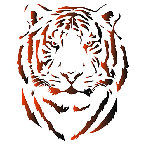 Wild Animal Stencils (Tiger Head Stencil - 10 x 12.5 inch (M) - Reusable African Big Cat Animal Wildlife Stencils for Painting - Use on Paper Projects Scrapbook Journal Walls Floors Fabric Furniture Glass Wood etc.)
