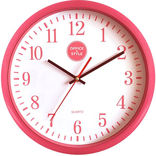 Analog Wall Clock with Anti-Scratch Plexi Glass Cover, Pink with White Easy-to-Read Numbers, Silent Quartz - by Office Style (Anti Scratch Function Protects compare prices)