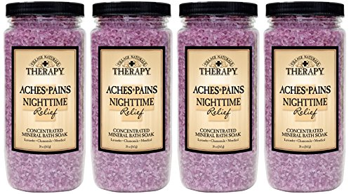 Village Naturals Therapy, Mineral Bath Soak, Aches and Pains Nighttime Relief, 20 oz, Pack of - Mineral Salts Natural Soak
