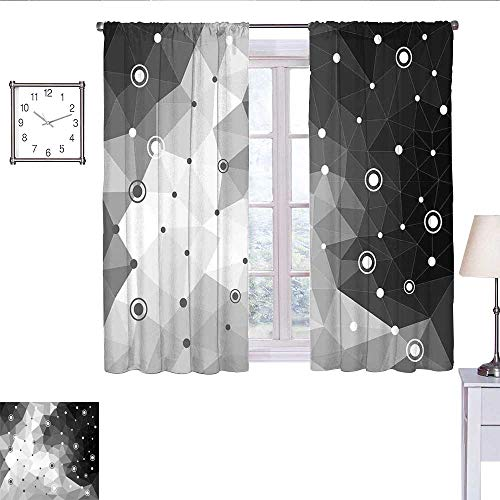 alisoso Black and Grey Kitchen Curtain Polygonal Triangles Dots and Circles Pattern Contemporary Art Inspired Curtain Valance Black Pale Grey W63 x L72 (Circle Valance Dot)