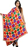 Exotic India Hand-Embroidered Phulkari Dupatta from Pun - Color Rainbow