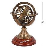 Ares India 5'' Nautical Brass Armillary Sphere World Globe Rosewood Base Table Decor Gift