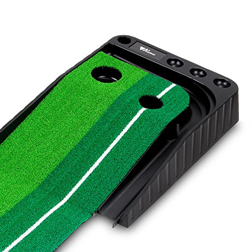 Amzdeal Dual-Track Putting Indoor Golf Simulator Practice Mat with Ball Return, 8.2-Feet Long, Green