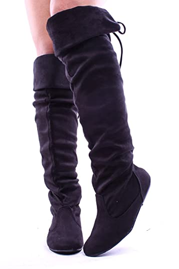 c0efd93275f Forever Link Faux Suede Over The Knee Flat FOLD Over Boots Shoes 6 Black