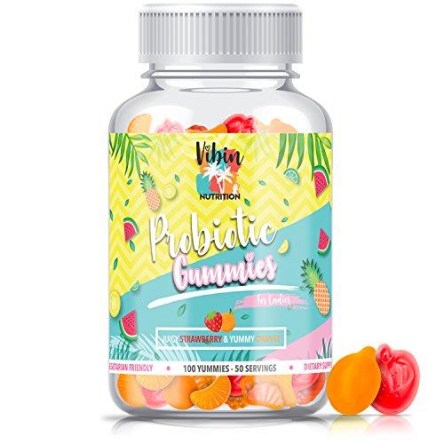 Probiotic Gummies for Women|100 Count Sugar-Free Vitamins |5 Billion CFU |Natural, Tasty, Non-GMO, Gluten Free & Vegan Friendly|
