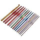 Click Down 2.0-10.0mm Multicolour Aluminum Crochet Hook Knit Needles-14Pcs
