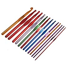 Click Down 2.0-10.0mm Multicolour Aluminum Crochet Hook Knit Needles-14Pcs
