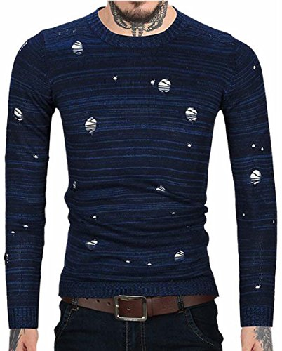 O Knitwear Holes Men today Sleeve Ripped Casual UK Blue Long neck Pullover ZWnaxnv0q