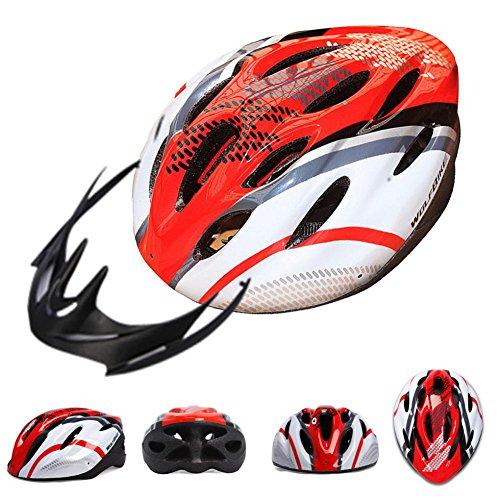 Chariot Trading - WOLFBIKE Bicycle Bike Cycling Adult Men Women Carbon Helmet BMX MTB Road Hero Helmet 19 Holes Visor Size 54-64cm Yellow Blue Red - CJ-BG-SPT-000317