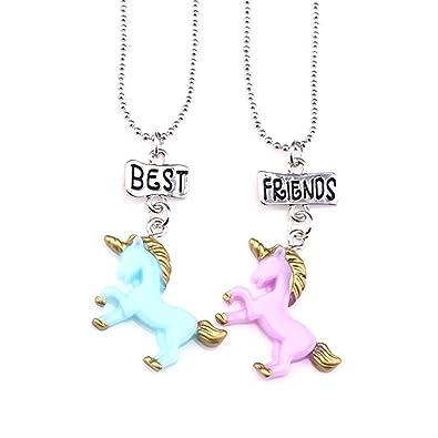 580dfe379f4b Mejores amigas collares para niñas niños 2 Colgante unicornio Collares de  plata Juego Arco iris para niños Regalos de amistad  Amazon.es  Joyería