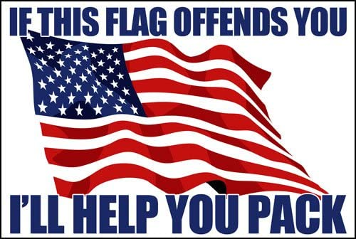 American Vinyl If This Flag Offends You - I`ll Help You Pack Sticker (Conservative GOP Anti Left)
