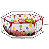 EocuSun Portable Hexagon Polka Dot Kids Playpen Ball Pit for Indoor and Outdoor with Tote Bag, 59-Inch