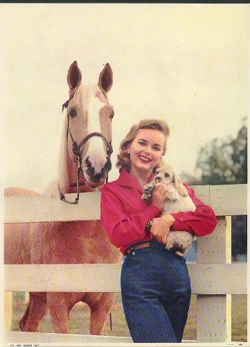 Ranch Pals calendar sample print Blonde girl Palomino & cocker spaniel pup 1950s