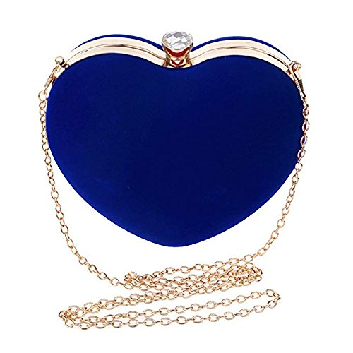 soirée KeavyLee 120cm Bleu avec de Sac à Longue Femme Sac Cœur d'embrayage bleu Main 16X25X8cm de Mariage chaîne FrqvFAnxw