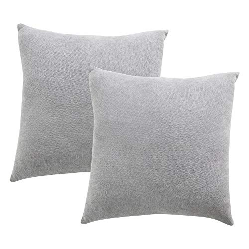 Stellhome Pack of 2 Throw Pillow Covers Acrylic Fleecy Square Decorative Set Cushion Covers for Bed Couch Sofa Bench/Chair, 18x18 inches (45 cm), Light Grey (Pillows Throw Shop)