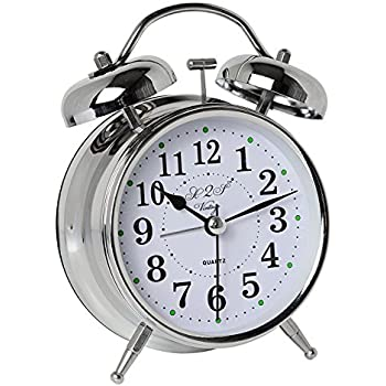 A2S Vintage Style Alarm Clock - Twin Bell, Analog & Battery Operated - Great for Heavy Sleepers and Travel (Silver Classic)