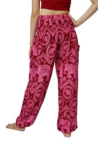 NaLuck - Pantalones estilo harén para mujer, cintura fruncida, estilo hippy PJ26-Crimson