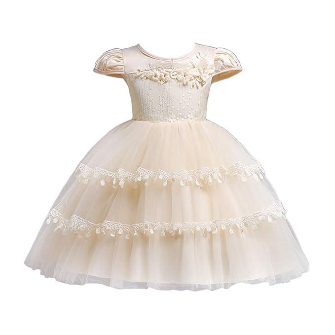 Zhhlaixing Niña de Las Flores Encaje de Tul Vestidos de Princesa - Colegialas Capas Boda Dama