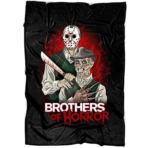 TOLETORE Brother of Honor Friday The 13th Soft Fleece Throw Blanket, Jason Voorhees Vs Freddy Krueger Fleece Luxury Blanket (Large Blanket (80