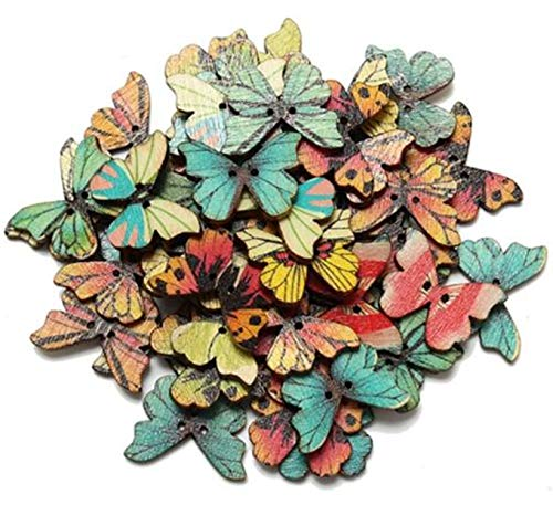 Multi colored wood butterfly shape button -