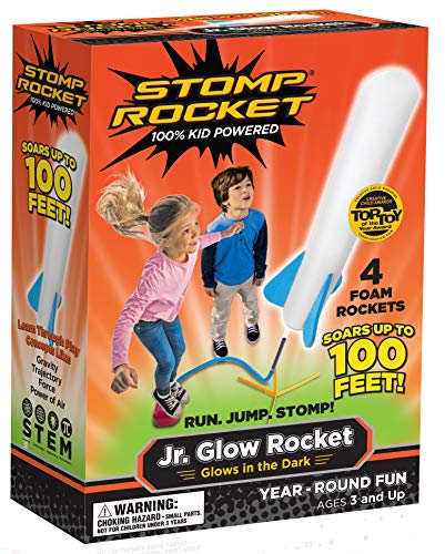Stomp Rocket Jr. Glow Rocket, 4 Rockets and Toy Rocket Launcher - Outdoor Rocket Toy Gift for Boys and Girls Ages 3 Years and ()