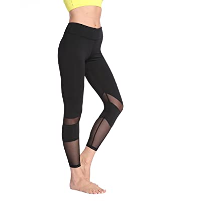 Chusanhi Mesh Yoga Pants for Women Tummy Control Workout Yoga Leggings Hidden Pocket