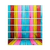 decalmile Stair Sticker Colorful Wood Stripe Stairway Decals DIY Self-Adhesive Waterproof Steps Sticker Home Decor (1set=18x100cmx6pcs)