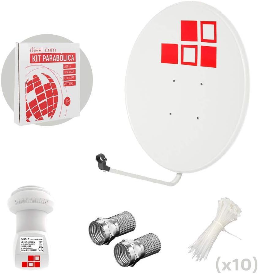 Diesl.com - Kit Antena parabólica de Television satélite Digital - 60cm + LNB Diesl.com 4k
