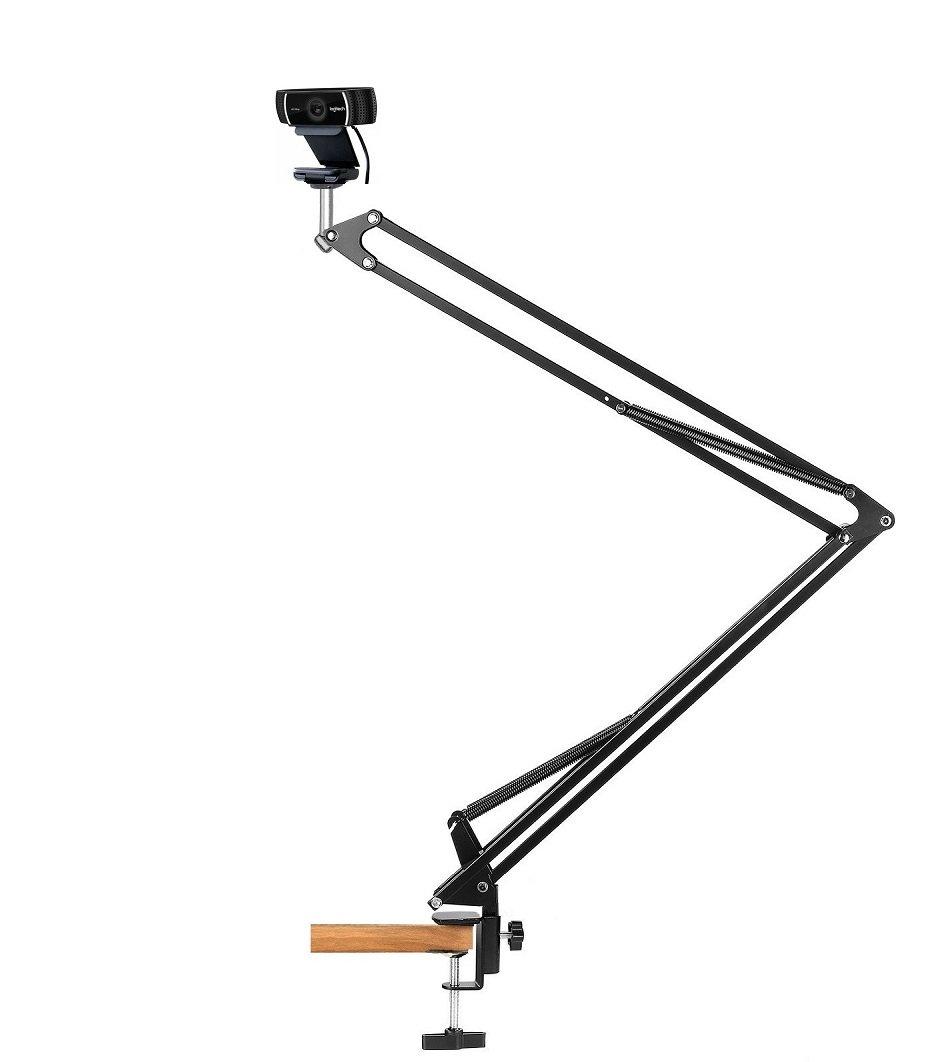 43.3'' Desk Clamp Mount Suspension Boom Scissor Arm Swivel Stand Holder for Logitech Webcam C922x C922 C930e C930 C920 C615 by AceTaken (Image #1)