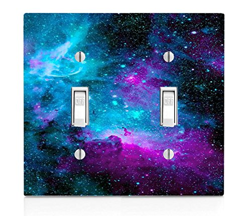 Nebula Galaxy Space Design Pattern Print Double Light Switch Plate (Will Light Switch Covers)