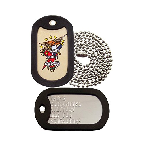 Military Dog Tags - Custom Embossed Death Before Dishonor Tattoo Military Dog Tag Set - Tag-Z Tagtoo-Z