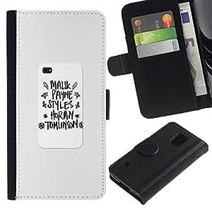 Billetera de Cuero Caso Titular de la tarjeta Carcasa Funda para Samsung Galaxy S5 V SM-G900 / notebook writing poster school text / STRONG