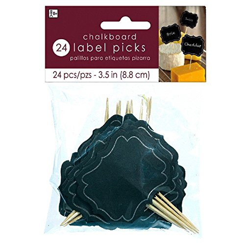 Amscan Classic Chalkboard Label Picks Perfect for Parties, 24 Pieces, Made from Paper, Black/Silver, 3 1/2 by free shipping
