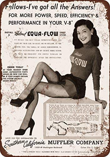 Qanbt 1952 Equa-Flow Mufflers Cheesecake Vintage Look Reproduction Metal Tin Sign 7.8inch11.8inches