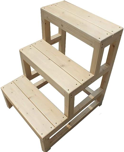 Taburete de escalera ZCJB Taburete De Cocina For Mujer Escalera De 3 Peldaños, Altura De 70 Cm Escalera De Madera Maciza con Pedal Ancho, Plataforma De 100 Kg De Capacidad Taburete: Amazon.es: Hogar