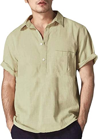 RRRINSINS Camisa Hippie de algodón y Lino, Manga Corta, Informal, Henley, Holgada, para Hombre - - Small: Amazon.es: Ropa y accesorios